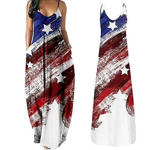 독립 기념일 드레스 미국 국기 맥시 셔츠 여성을위한 바디 콘 드레스