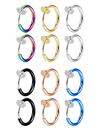 Mudder 12 Pieces Fake Earrings Nose Ear Lip Clip Rings Non-pierced Earring Hoops Body Jewelry for Men and Women, 6 - Clip Silver Ring