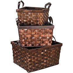 F2C Set of 3 Wooden Wicker Rattan Woven Storage Box Basket Container Tote Organizer Bin Laundry Hamper W/Leather Handles Portable Toy Chest Storage Basket Nursery Bins Home Kitchen Decor