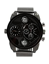 Big Dial OULM Multi-Function For Men With Solid Stainless Steel Band Sport Quartz Watch - Black