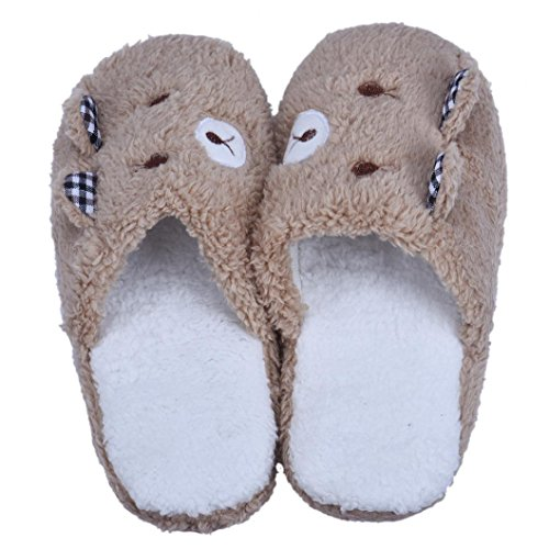 Tenworld Lovely Bear Home Spa Soft Warm Winter Plush House Slippers (8-8.5, Coffee) Coffee