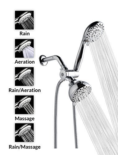 "A-Flow™ 5 Function Luxury 4"" Dual Shower Head System / Handheld Shower Head and Wall Mount Showerhead Combo 3-Way Shower System, Chrome Finish / 60"" Flexible Hose / Enjoy an Invigorating & Luxurious Spa-like (Three Way Showerhead Finish)"