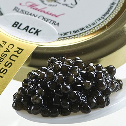 Osetra Karat Black Russian Caviar - Malossol - 0.5 oz jar by Gourmet Food (Osetra Karat Caviar)