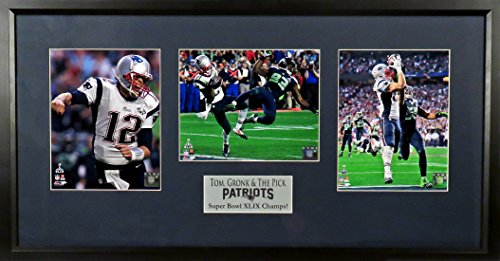 "New England Patriots ""Tom, Gronk & The Pick"" SB XLIX Triple Display Framed"