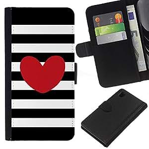 EJOY---La carpeta del tirón la caja de cuero de alta calidad de la PU Caso protector / Sony Xperia Z1 L39 / --Rayas horizontales Amor Negro Blanco