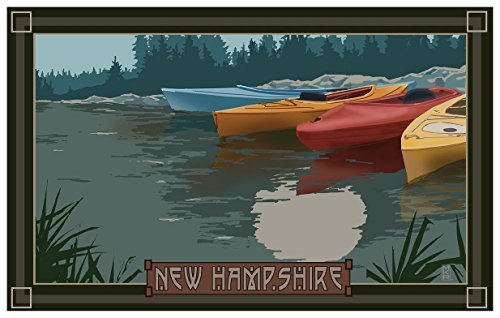 New Hampshire Kayaks In Moonlight Travel Art Print Poster by Mike Rangner (12