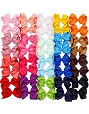 Dolloress 40pcs Multi Colors Headband Hair Belt Band Clip Girls Ribbon Bow for Kids Toddler Headwear Accessories