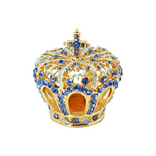 Accent Ring Diamond Enamel Blue (Unicoco Crown Enamel Trinket Box Blue Rhinestone Jewelry Organizer Home Earring Necklace Container Enamel Jewelry Box)