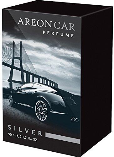 Areon Car Perfume 1.7 Fl Oz. (50ml) Glass Bottle Air Freshener, Silver (Areon Car Spray compare prices)