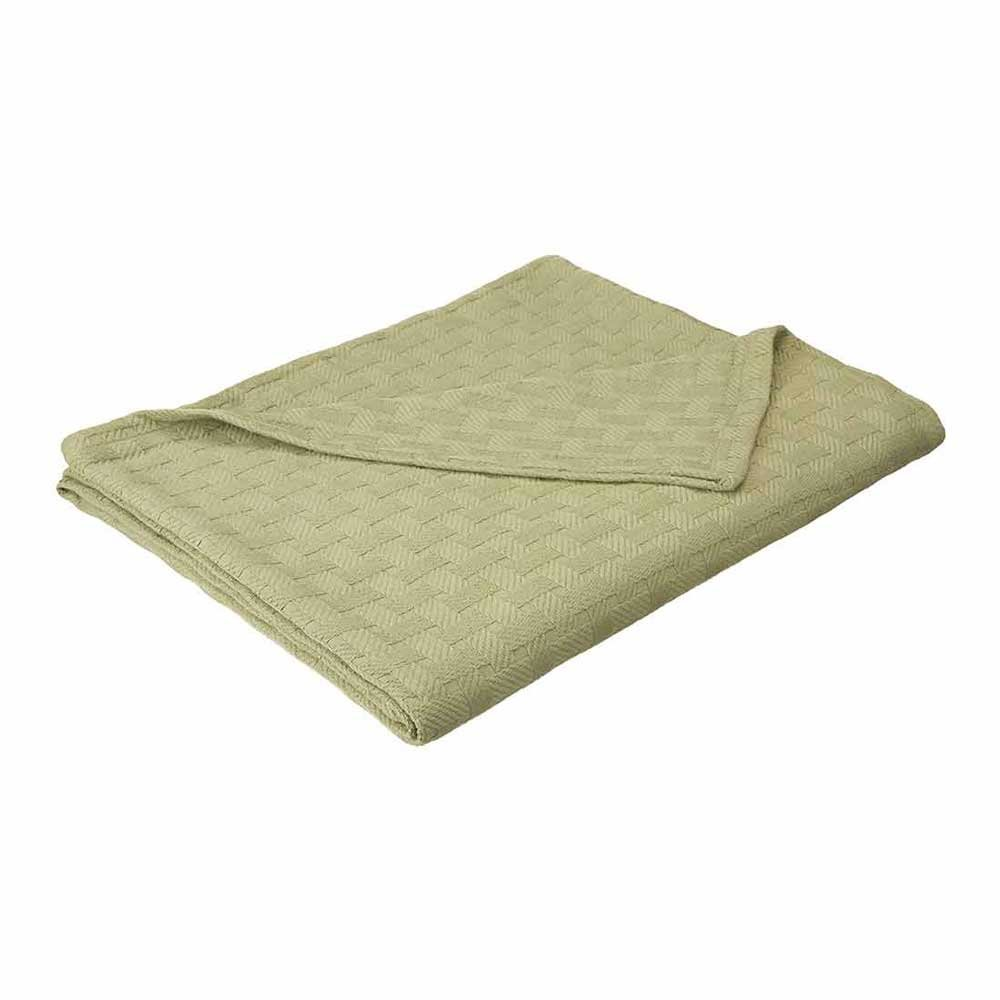 eLuxurySupply Basket Weave Blanket - 100% Soft Premium Cotton Blanket - Perfect for Layering Any Bed, Twin/Twin XL, Sage