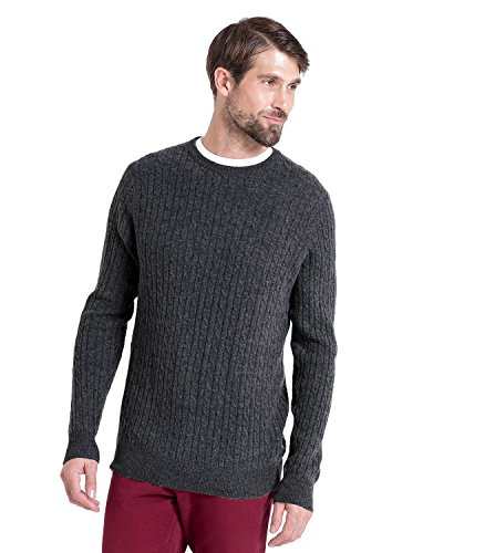 WoolOvers Pull torsadé à col rond - Homme - Cachemire & mérinos Charcoal, XL