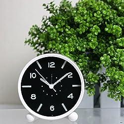 LauderHome Clock for kids, Non Ticking Analog Alarm Clock with Luminous ,Simple to Set Clocks, Battery Powered (White)