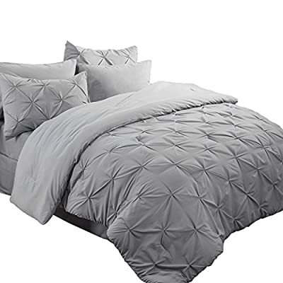 "Bedsure 6 Piece Comforter Set Solid Bed in A Bag (Grey, Twin(68""x88"")) -  - comforter-sets, bedroom-sheets-comforters, bedroom - 51hg32rgqNL. SS400  -"