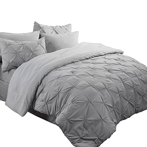Bedsure 6 Piece Pinch Pleat Down Alternative Comforter Set Twin Size (68X88 inches) Solid Grey Bed in A Bag (Comforter, 1 Pillow Sham, Flat Sheet, Fitted Sheet, Bed Skirt, 1 Pillowcase)