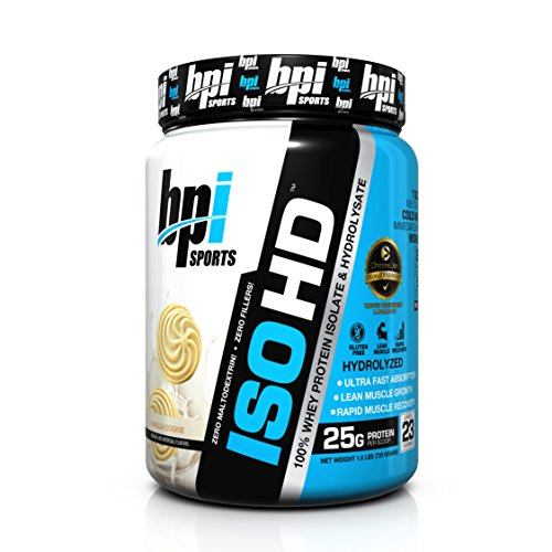 BPI Sports ISO HD Whey Protein Isolate and Hydrolysate, Vanilla Cookie, 1.6 Pound