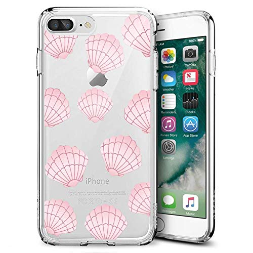 Creative Designs Pink Scallop Crystal Transparent Anti-Scratch Phone Case for iPhone 7 Plus 8 Plus