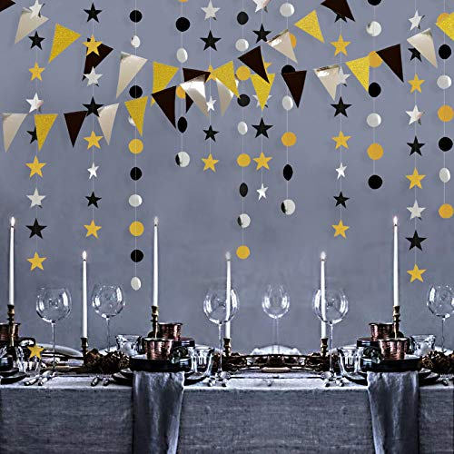 Black Gold Silver Party Decorations (Gold Silver Black Party Decoration Kit Double Sided Glitter Triangle Banner/Star/Circle Dot Decorations Garlands Streamer Glittery Pennant Banner Décor for)