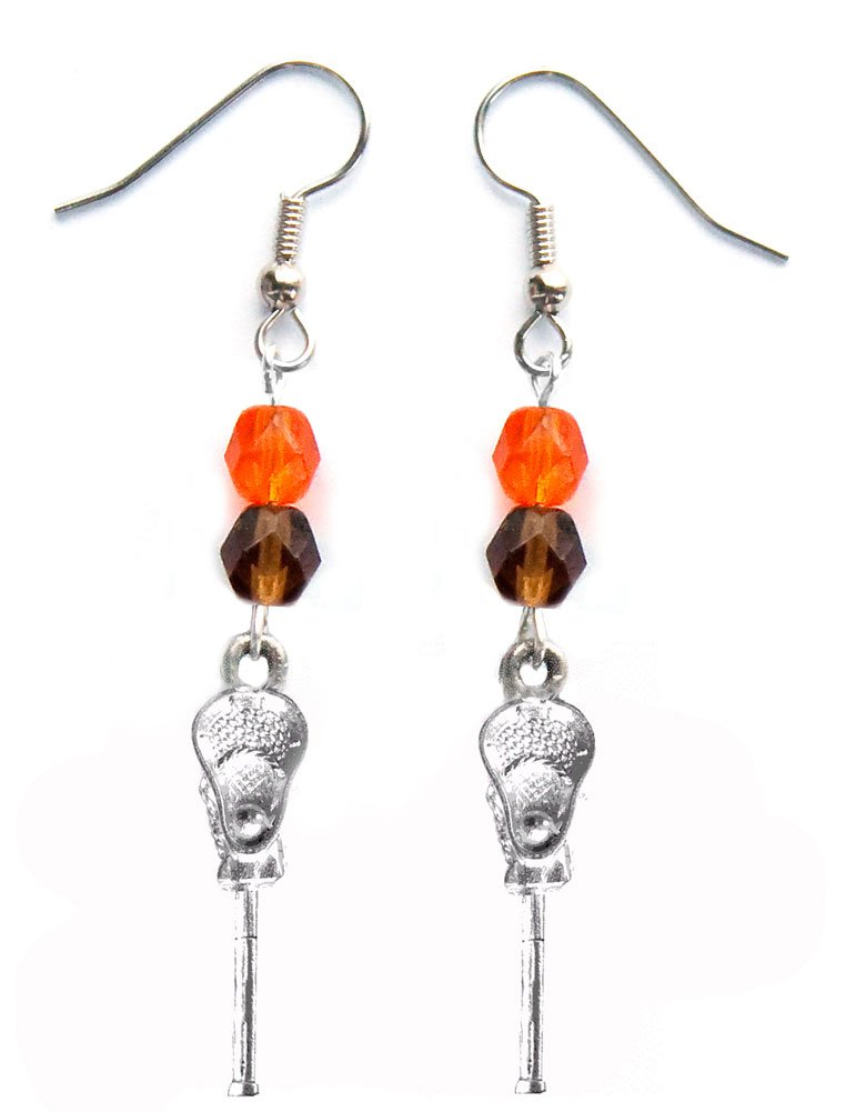 ''Lacrosse Stick & Ball'' Lacrosse Earrings (Team Colors Orange & Brown)
