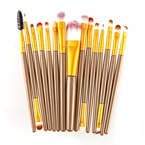 15 Piece Makeup Brushes Set Powder Eye Shadow Brow Eyeliner