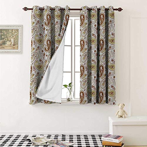 - Paisley Blackout Draperies for Bedroom Floral Patterns with Paisley Inspired and Tulips Persian Hippie Art Curtains Kitchen Valance W72 x L63 Inch White Chocolate Umber