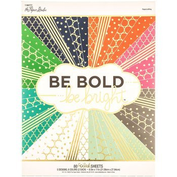 Be Bold Be Bright 8.5x11 Cardstock Scrapbooking Paper Pack 80 Foiled Sheets -