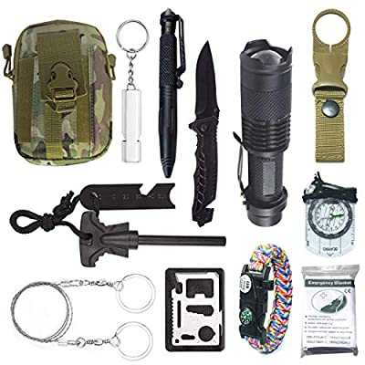 Emergency Survival Kit with Multitools | 12-in-1 Outdoor Survivals Gear Tool with Military Compass, Folding Knife, Tactical Pen, Flashlight & More | Best for Traveling, Hiking, Climbing, Adventures by Frog Direct