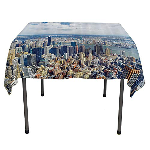 Modern Table Cover Aerial View of Manhattan Skyline High Skyscrapers Business Center USA Landscape Light Blue Grey Waterproof tablecloths Spring/Summer/Party/Picnic 60 by - Rectangular Table Manhattan