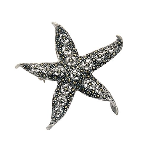Wild Things Sterling Silver & Marcasite Curled Tip Starfish Pin