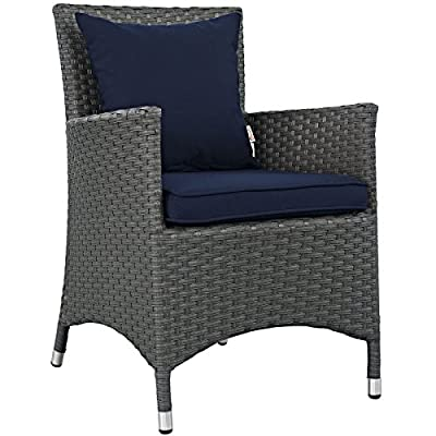 Modway EEI-1924-CHC-NAV Sojourn Wicker Rattan Outdoor Patio Coffee Table, Dining Chair, Canvas Navy - PATIO REFRESH - Update your backyard or porch with inviting modern patio dining furniture. Effortlessly accommodate the needs of your guests while creating the perfect outdoor patio dining setting OUTDOOR DINING - Enjoy dinner under the stars or a sunny lunch on the patio with this outdoor dining chair. Great as an accent chair or around the dining table, this armchair offers supportive comfort CONTEMPORARY STYLE - Updating decks and backyards, the durable collection boasts clean lines and modern appeal. All-weather cushions and machine washable Sunbrella fabric covers grant stylish comfort - patio-furniture, patio-chairs, patio - 51hg4NTxnRL. SS400  -