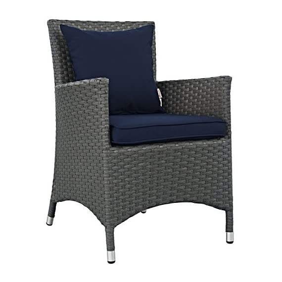Modway EEI-2244-CHC-NAV-SET Sojourn Wicker Rattan Outdoor Patio Coffee Table, Dining for Four, Navy - PATIO REFRESH - Update your backyard or porch with inviting modern patio dining furniture. Effortlessly accommodate the needs of your guests while creating the perfect outdoor patio dining setting OUTDOOR DINING - Enjoy dinner under the stars or a sunny lunch on the patio with this outdoor dining set. Accommodating 4 people, the patio set includes a table and four dining armchairs with cushions CONTEMPORARY STYLE - Updating decks and backyards, the durable collection boasts clean lines and modern appeal. All-weather cushions and machine washable Sunbrella fabric covers grant stylish comfort - patio-furniture, dining-sets-patio-funiture, patio - 51hg4NTxnRL. SS570  -