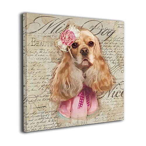 (JEFFERYjSPARKS English Cocker Spaniel Oil Canvas Paintings Wall Ar Wall Decorations for Bedroom Classical Abstract Wall Art Ready to Hang (Inner Framed))