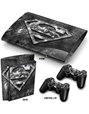 PS3 Super Slim Playstation Haut-, PVC für Konsole + 2 Controller / Pads Aufkleber-Schutz-Abdeckung Art Leather Effect Superman