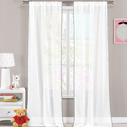 Pole Top Curtain Panel (White & Grey Pom Pom Pole Top Window Curtain Pair Panel Insulated Drapes For Bedroom, Livingroom, Kids, Children, Nursery - Assorted Colors - 38 by 84 Inches, Set of 2 Panels)