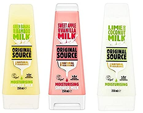 Original Source Ducha Leche Set 3 x 250 ml Hidratante con Natural Fragancias Lima & Coco