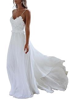 f3d27882149e XJLY Spaghetti Straps Applique Backless Long Chiffon Beach Wedding Dress