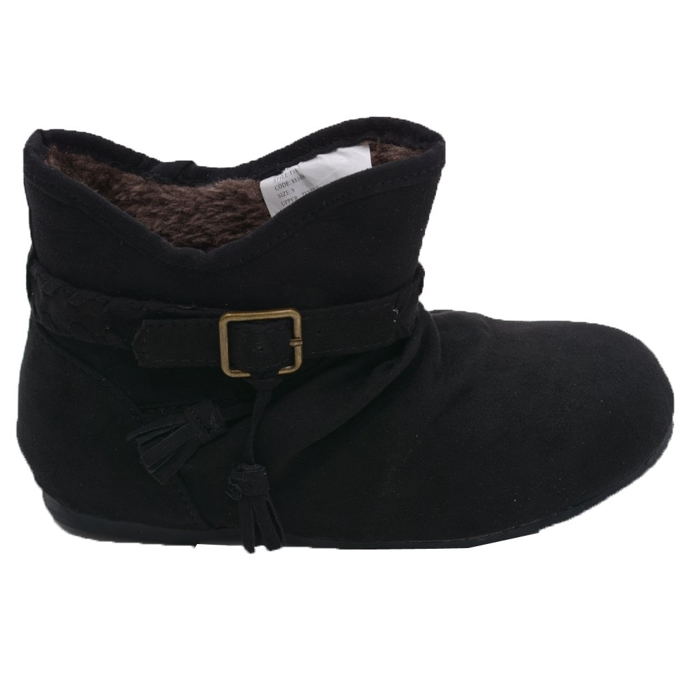 L'Amour Little Girls Black Suede Faux Lining Buckle Ankle Boots 2 Kids