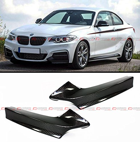 Pair Of Real Carbon Fiber Front Bumper Splitter Lip Kit for 2013-2017 BMW F22 M235i M240i Coupe