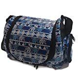 Thailand Classic Pattern Elephant Style Puppy Kitten Sugar Glider Birds Prairie dog Small Pet Travel Cage Shoulder Bag Kennel Carrier with 2 Side Pocket By Polar Bear's Republic (Blue)