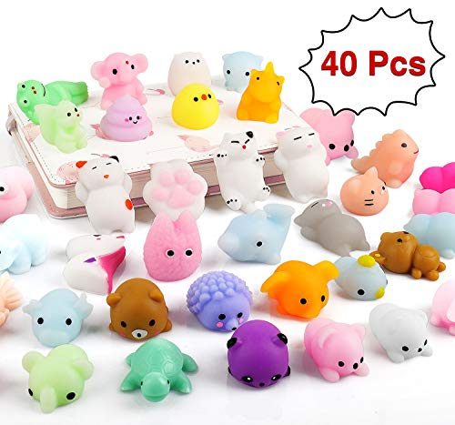 Balhvit 40Pcs Non-repeating Mini Squishies Squeezable Mochi Squishy Toys Soft Kawaii Stress Relief Toys Individually Packaged Party Favors for Kids Cat Animal Birthday Gifts Decoration for Kids Adults