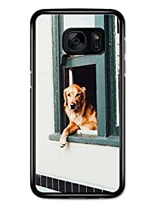 Cute Funny Cool Dog at Window Golden Retriever Design carcasa de Samsung Galaxy S7