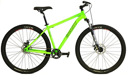 Gravity G29 FS 29er Single Speed Mountain Bikes + Lock Out Suspension Fork Disc Brakes (Green, 19