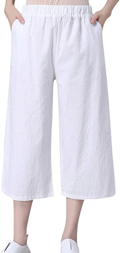 Pantalones Cortos Mujer Logobeing Pantalones Sueltos De Mujer Pantalones De Algodon De Lino De Bolsillo Casual Pantalon Largo Hasta La Pantorrilla Amazon Es Ropa Y Accesorios