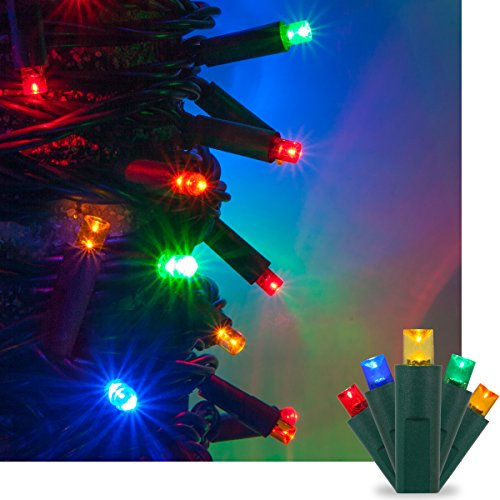 Multi LED Christmas Mini String Light Set, 50 5mm Lights, Indoor / Outdoor Christmas Light Decorations, 120V UL Certified, Green Wire