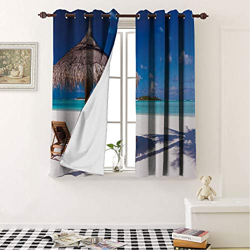 Mozenou Home Decoration Blackout Curtains Landscape,Island Caribbean Honeymoon Themed Beach Seashore Ocean Print White Pale Brown and Turquoise Noise Reducing- 72 by 45 in
