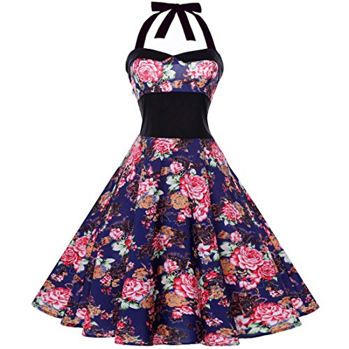 Women Dresses Godathe Summer Women Sleeveless Bow Vintage Flower Print Party Dance Dress S-XXL ()