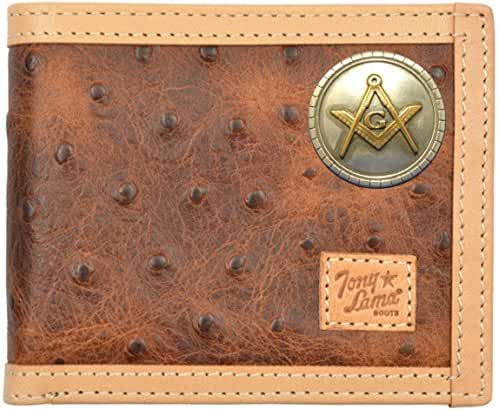 Custom Masonic Square and Compass Tony Lama Brown Ostrich Print Bi-Fold Wallet