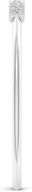 1mm Diamond Pave Set Diamond Bar Ring with Milgrain