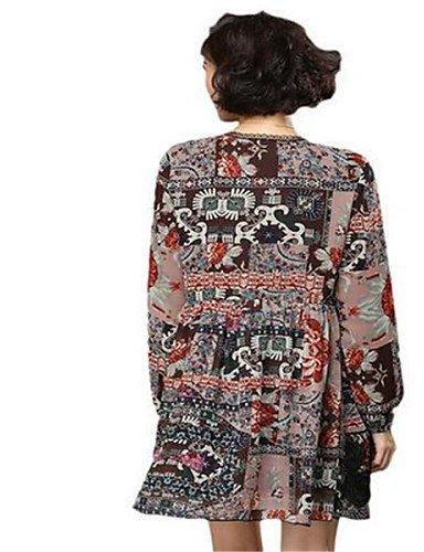 PU&PU Robe Aux femmes Ample Street Chic,Imprimé Col Arrondi Au dessus du genou Polyester , black-one-size , black-one-size