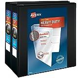 Avery Heavy-Duty View Binders, 4'' One-Touch Slant Rings, 700-Sheet Capacity, DuraHinge, Black, Pack of 2 Binders (79784)