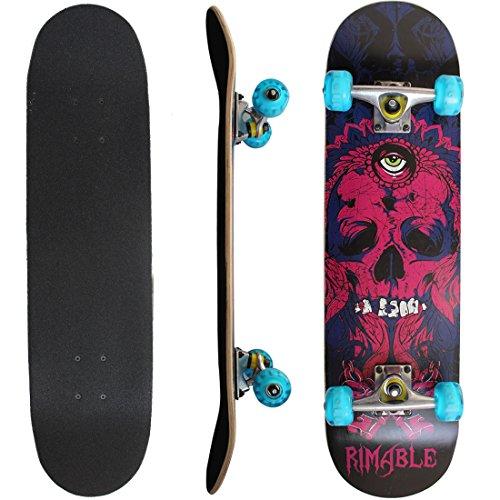 Rimable Complete Maple Skateboard 31 Inch (Purple Skull,Lighted Up Wheel)